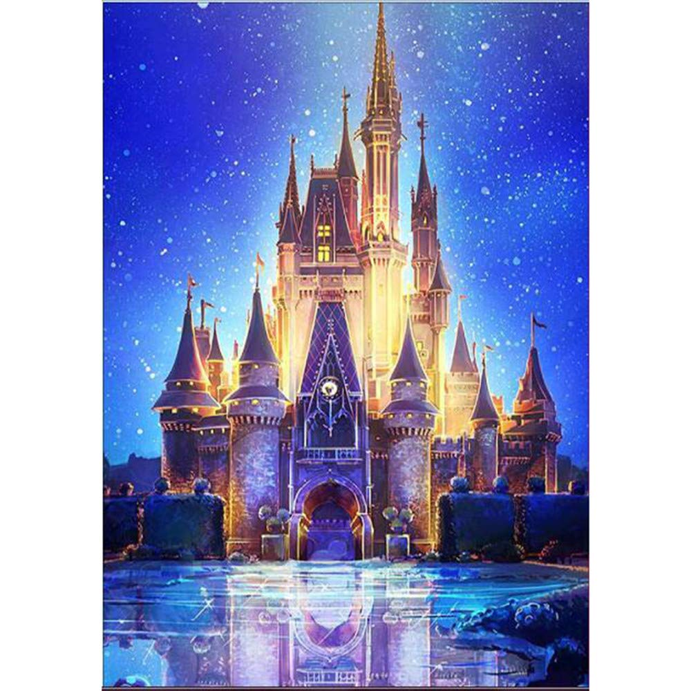 5D Diamond Painting Tool Full Drill Diamond Paint Light Fairytale Castle, Vertily Paintings DIY for Art Wall Home Decor,Crystal Prime Diamond Painting Kit s for Kids- 30x40cm