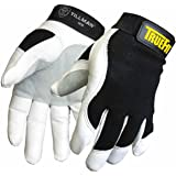 Extra-Large TrueFit™ Top Grain Goatskin With Rough Side Out Double Palm And Thumb, Black Spandex Back, Performance Gloves W/Hook & Loop Closure