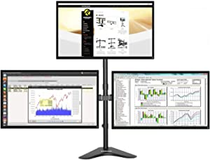 Krieger Triple Monitor Mount, LCD LED Computer Desk Stand, VESA Compatible Fit, Mount 3 Screens up to 32 inches and 17.6 lbs Each, Full Motion Articulating Arm, Fully Adjustable