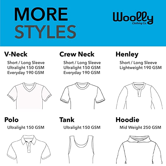 e460b103 Amazon.com: Woolly Clothing Men's Merino Wool Crew Neck Tee Shirt -  Everyday Weight - Wicking Breathable Anti-Odor: Clothing