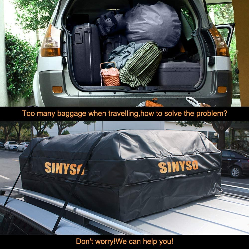 Orange+Black SINYSO Car Roof Cargo Bag Luggage Carrier,100/% Waterproof,19 Cubic Feet