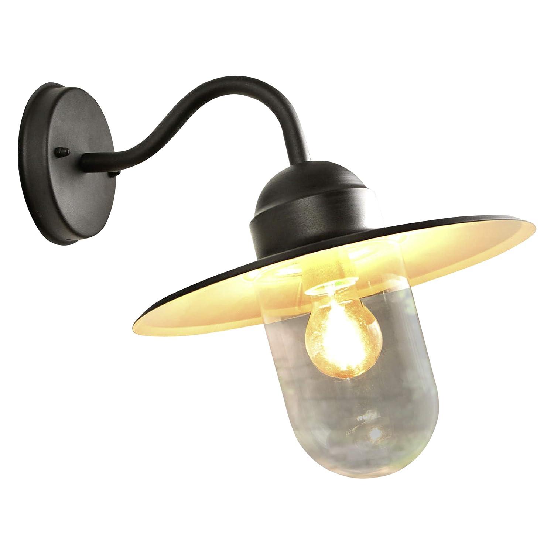 Lampenwelt Wandleuchte auß en'Filip' dimmbar (spritzwassergeschü tzt) (Retro, Vintage, Antik) in Schwarz aus Metall (1 flammig, E27, A++) | Auß enwandleuchten Wandlampe, Led Auß enlampe, Outdoor