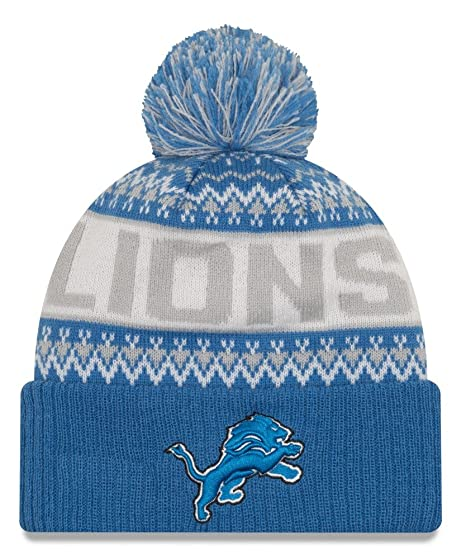 online retailer 54749 dc5f5 Image Unavailable. Image not available for. Color  Detroit Lions New Era NFL   quot Wintry Pom quot  Cuffed Knit Hat with Pom