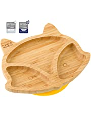 Bebé Cachorro de Fox con ventosa plato, Stay Put alimentación placa, bambú natural