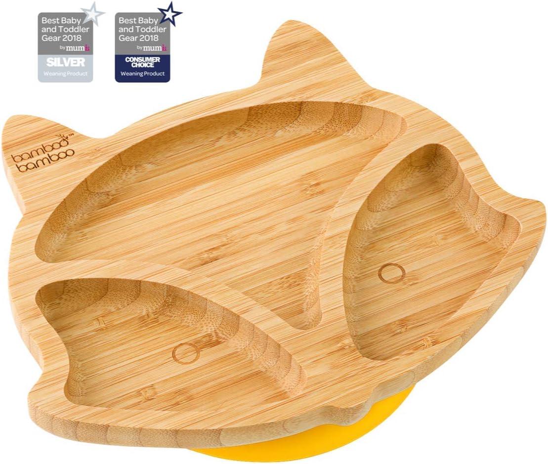 Plato de succión para bebés y niños con forma de zorro, plato de bambú natural amarillo amarillo