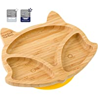 Baby Toddler Fox Cub Suction Plate, Stay Put Feeding Plate, Natural Bamboo (Yellow)
