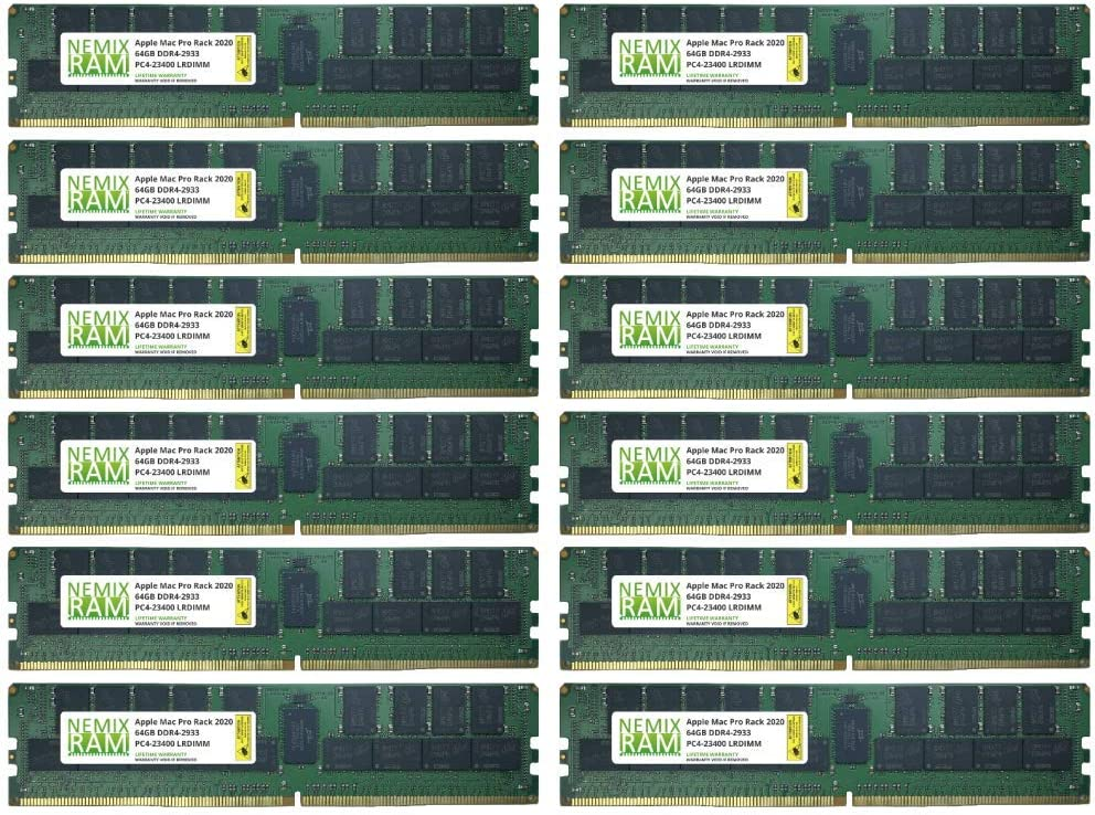 768GB 12x64GB DDR4-2933 PC4-23400 LRDIMM Memory for Apple Mac Pro Rack 2020 MacPro 7,1 by NEMIX RAM