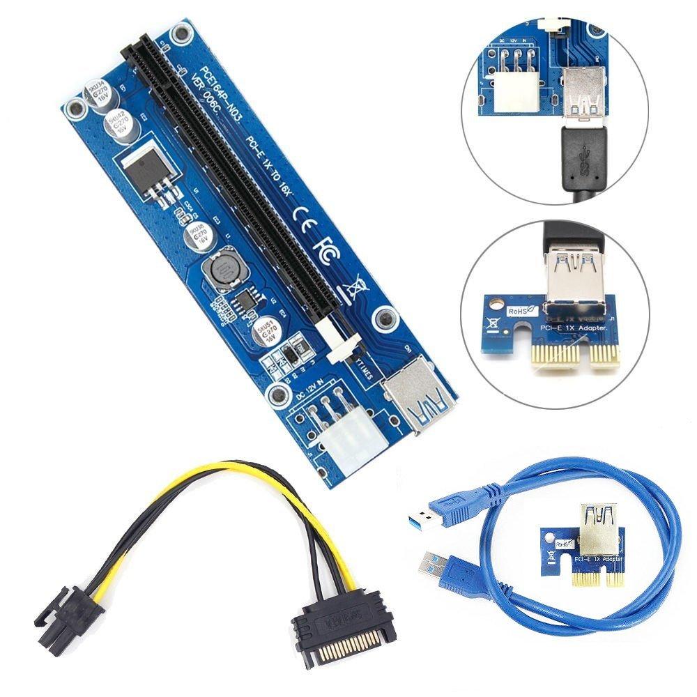 PCI-E Kabel Express 1x bis 16x Extender Riser-Kartenadapter Power Bitcoin USB3.0
