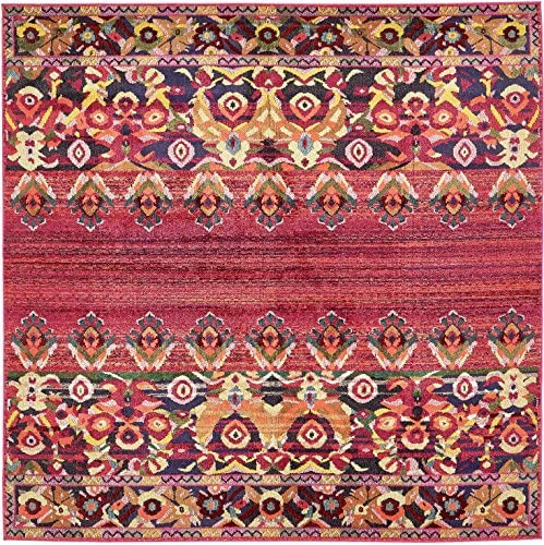 Unique Loom Medici Collection Vibrant Colors Abstract Botanical Red Square Rug 8 0 x 8 0