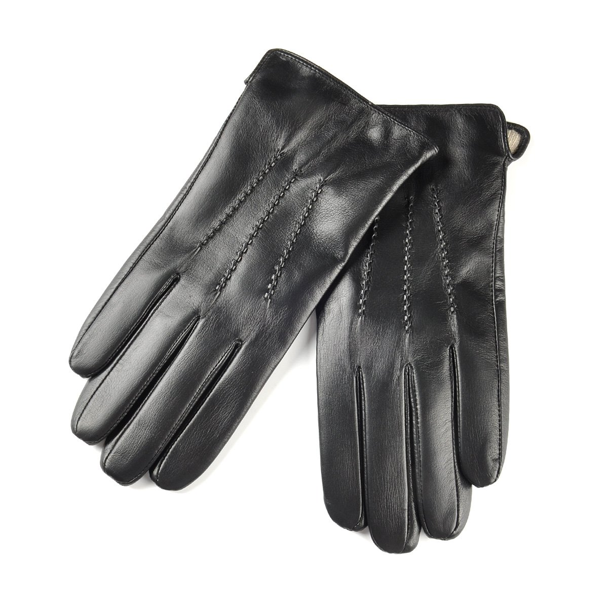 SIEFERSN Hot Selling Classic Style Men's Nappa Leather Full The Palm Touchscreen Gloves Winter Warm Leather Gloves 1154225011 (Large 9'', Black (Full Touchscreen/Soft flannel Lining))