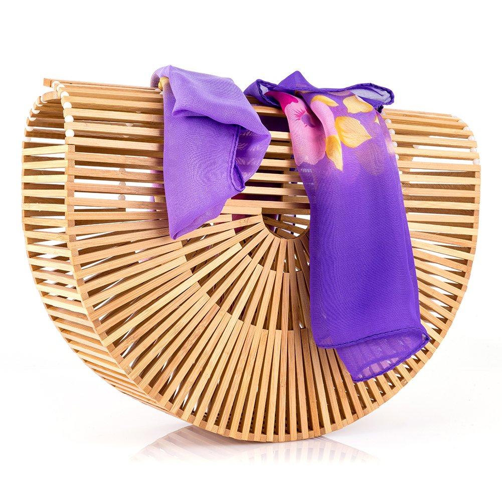 Women's Bamboo Handbag Handmade Sea Large Bamboo Tote Bag Clutch Summer Straw Beach Bag Bamboo Purse