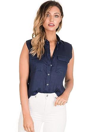 13c9426118 CAMIXA Women s 100% Linen Sleeveless Button-Down Two Pockets Shirt Cool  Casual XS Navy