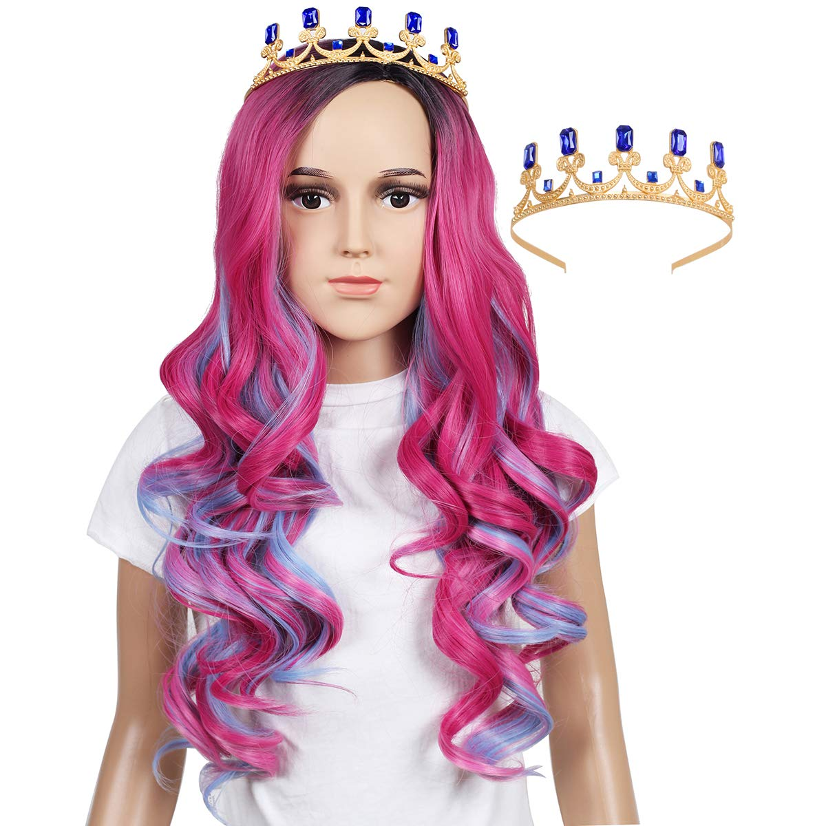 ColorGround Long Wavy Pink and Light Blue Mixed Cosplay Wig with Crown (Kids Size) by ColorGround
