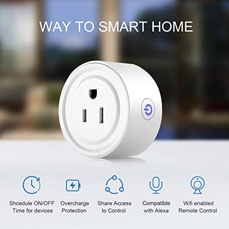 Mini Smart Plug WIFI habilitado Smart Socket funciona con Alexa Echo, mando a distancia sin Hub requerido, monitor de energía dispositivos domésticos Seffin ...