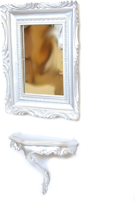 Idea Casa Specchio Argento Argentato Cornice Rettangolare Barocco Finto Vintage 45X37