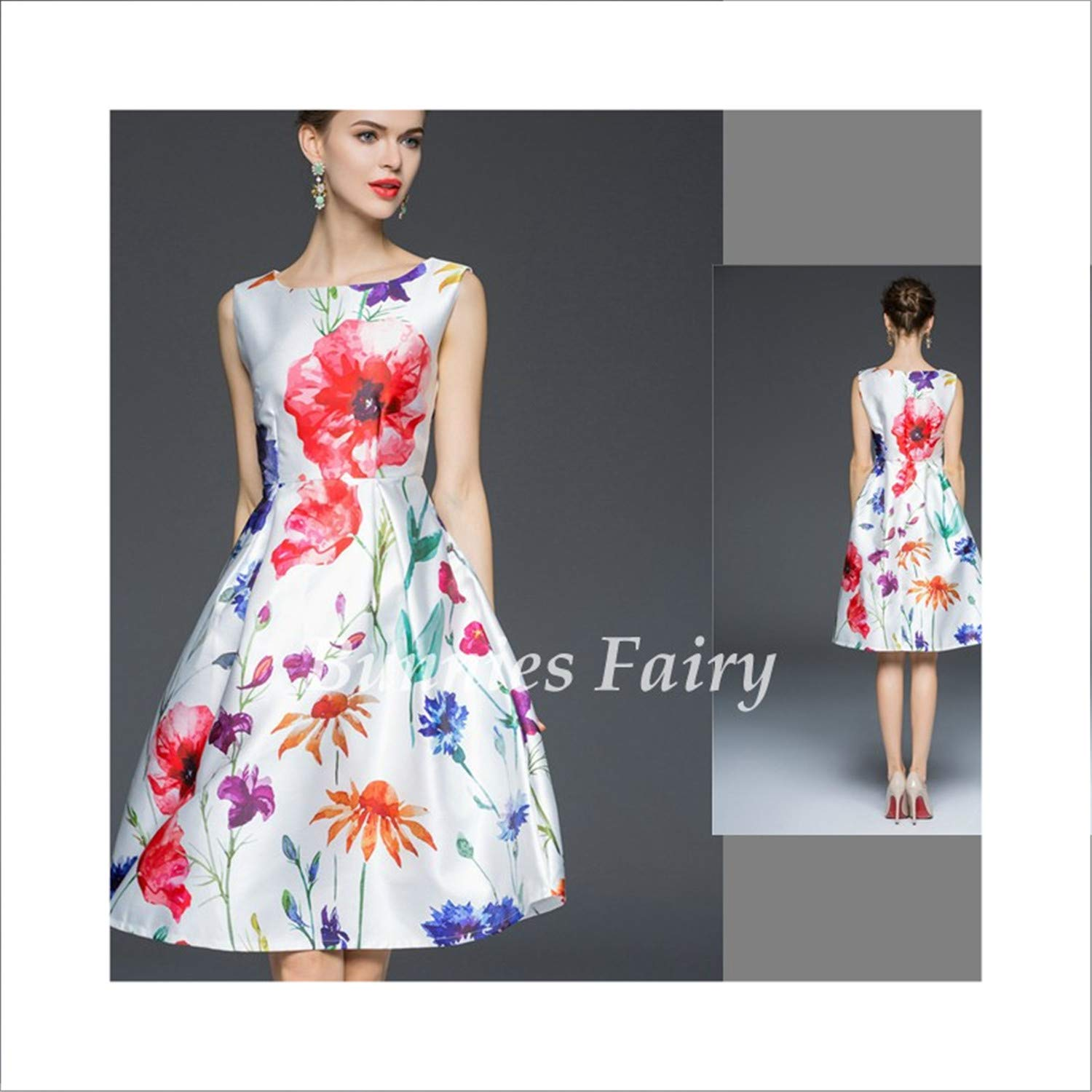 16 Women Vintage Retro Flower Floral Print Vest Dresses Sleeveless ONeck