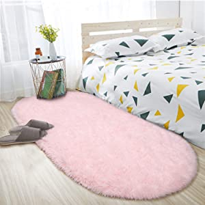 ISEAU Oval Fluffy Rug Carpets, Modern Plush Shaggy Area Rug for Kids Bedroom Extra Comfy Cute Nursery Rug Bedside Rug for Boys Girls Room Home Decor Mats, 2.6 x 5.3ft, Pink