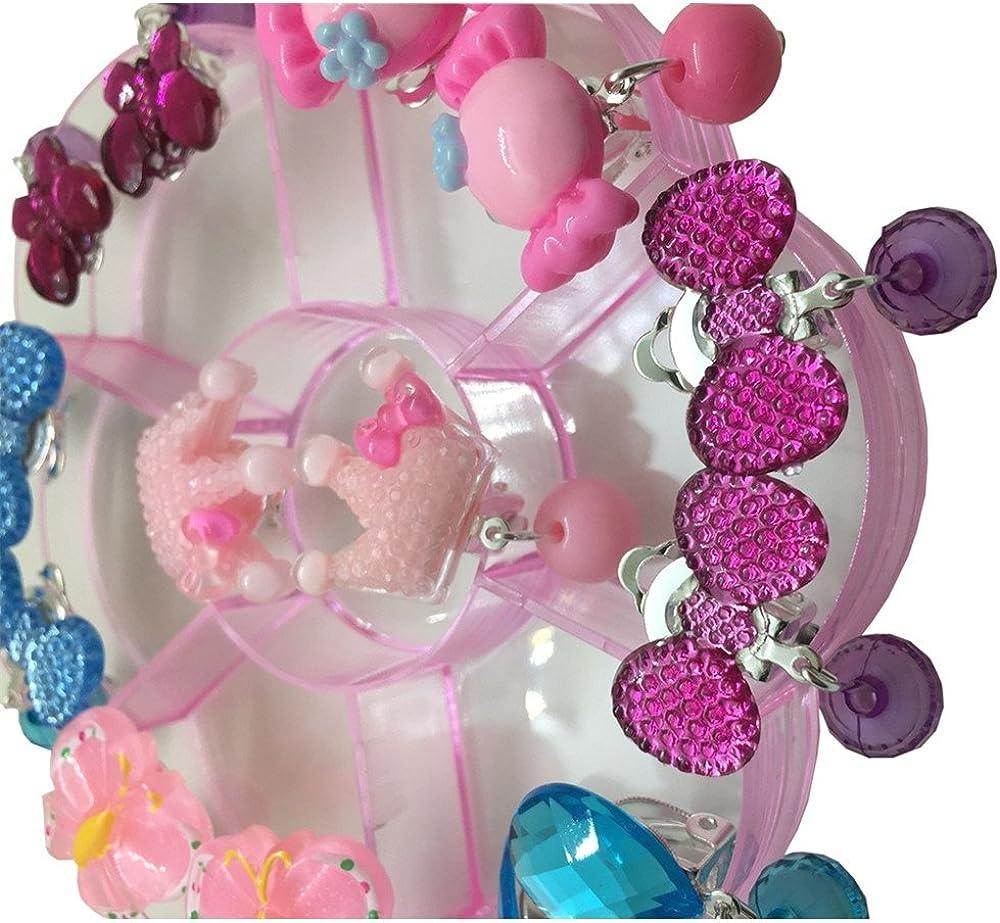 clip Ensemble de bijoux sans trous Fille f/ête danniversaire Cadeau Pretend Play Princesse Bijoux Boucles doreilles clips Value Boucles dOreilles /à clip
