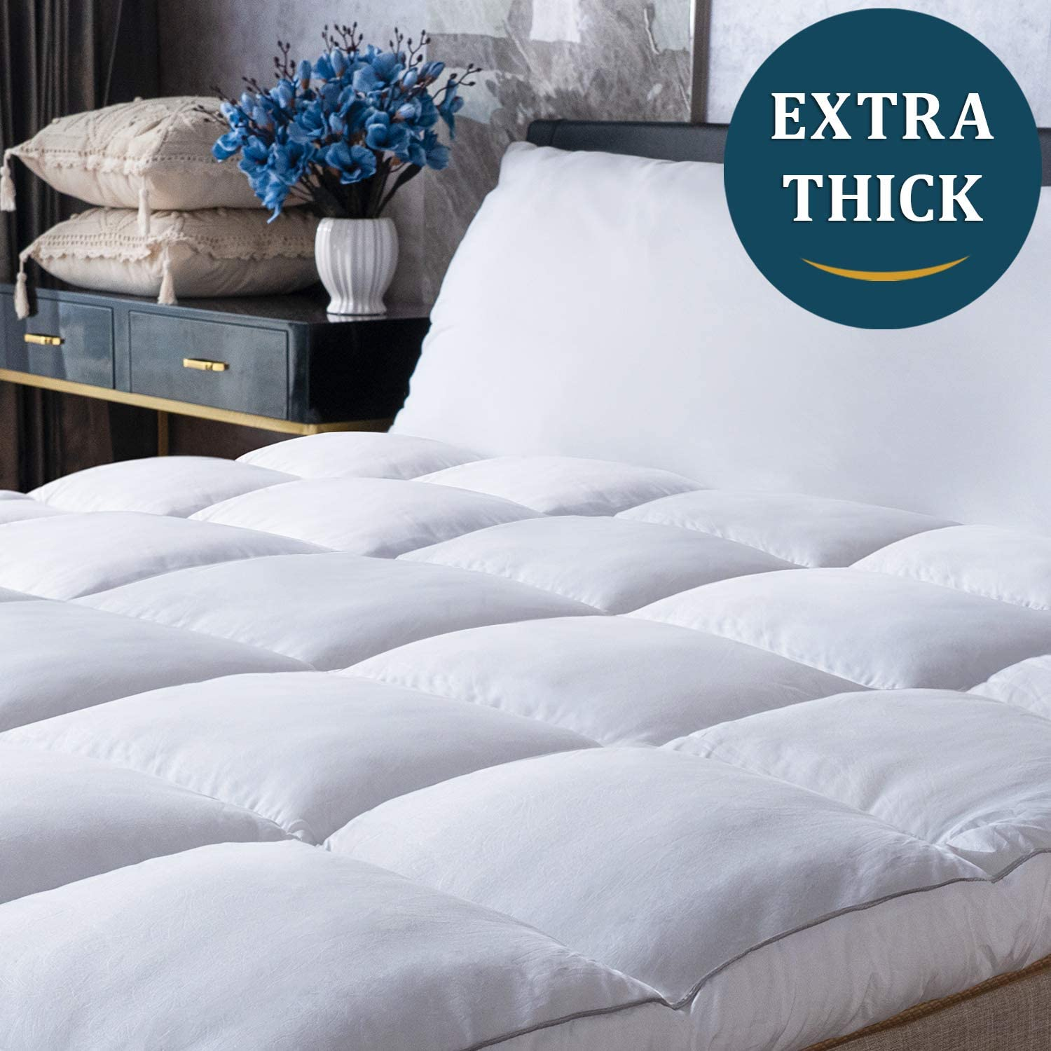 Mattress Topper Queen Size 2 Thick Quilted Hypoallergenic Alternative Down Pillow Top Mattress Cover 5 Year Warranty DUO-V HOME Plush Hotel Quality