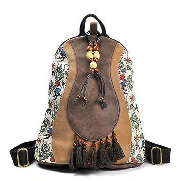 Style Femmes Patchwork Design Dos Chinois Gland à En Floral PU Impression Rétro Cuir Ethnique Sacs 01ddwaq