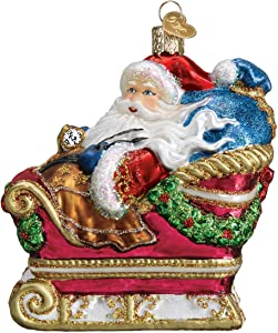 Old World Christmas Santa in Sleigh Ornament, Multi