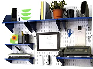 product image for Wall Control Office Organizer Unit Wall Mounted Office Desk Storage and Organization Kit White Wall Panels and Blue Accessories