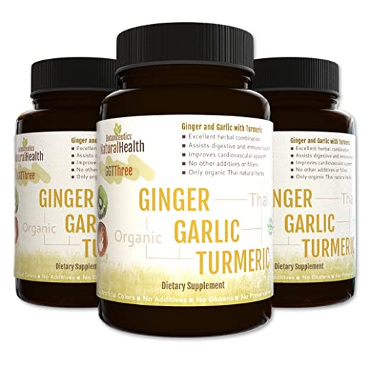 Botaniceutics GG&T - Organic Ginger, Garlic and Turmeric - 270 Capsules - 3 Bottle Pack - 500 mg - Circulatory health from natural ginger, turmeric curcumin and garlic allium.