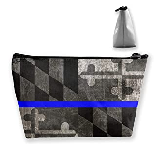 Blue Line Maryland State Flag Portable Travel Makeup Bags Storage Bag Organizers With Zipper