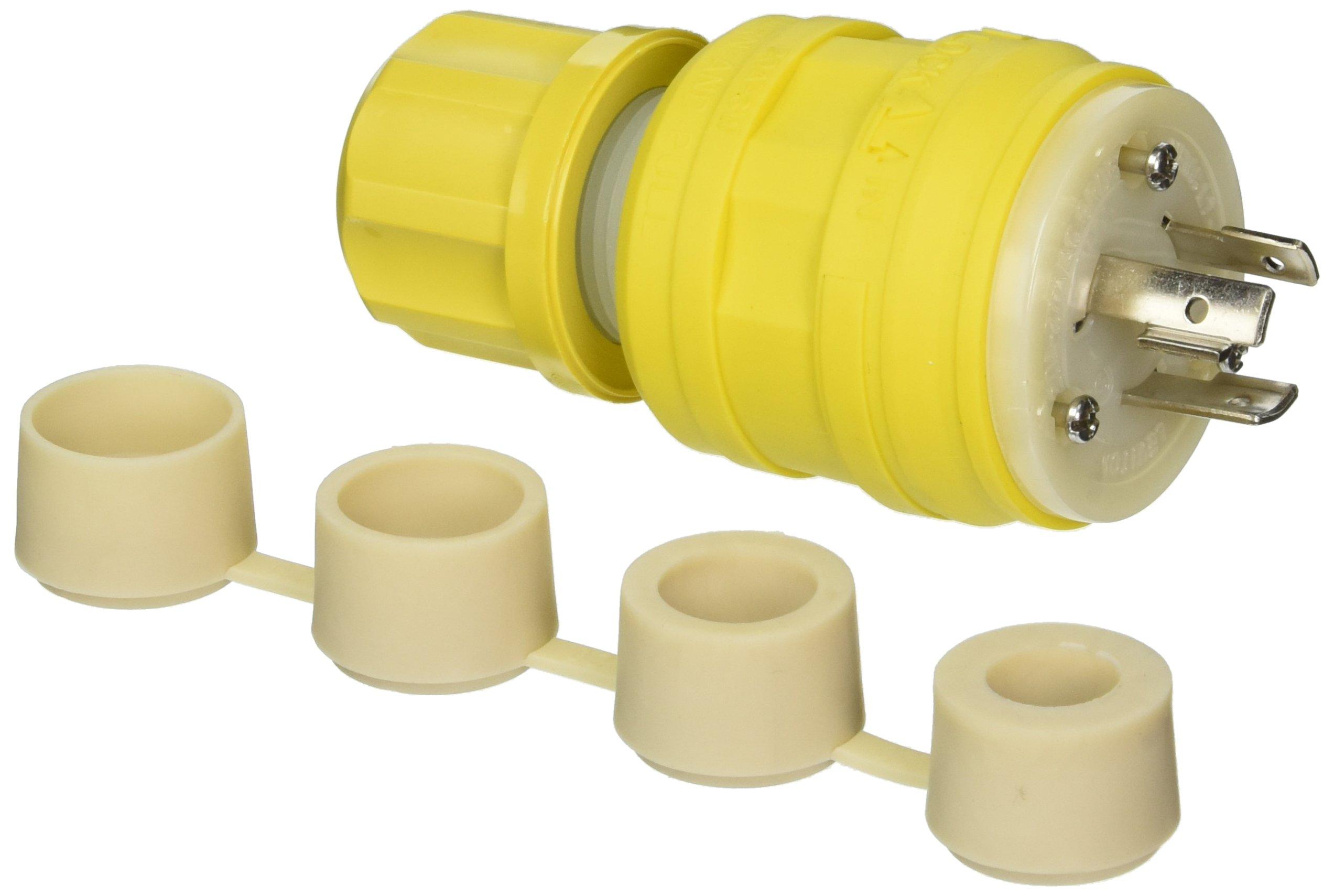Leviton 26W49 20-Amp, 277-Volt, NEMA L7-20P, 2P, 3W, Locking Plug, Industrial Grade, Grounding, Wetguard, Yellow