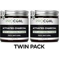 Activated Charcoal Teeth Whitener Kit by PROCOAL - 100% Natural Charcoal Teeth Whitening Toothpaste (2 Units)   Made in UK