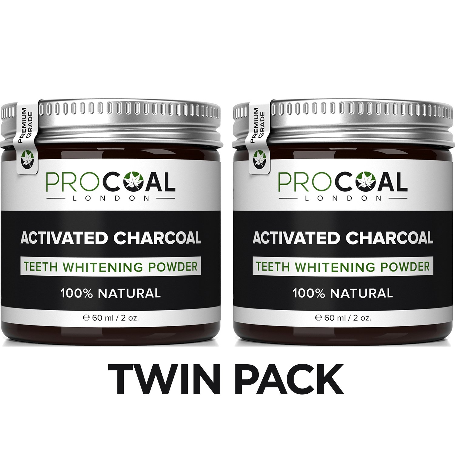Activated Charcoal Teeth Whitener Kit by PROCOAL - 100% Natural Charcoal Teeth Whitening Toothpaste (2 Units) | Made in UK PCO-1