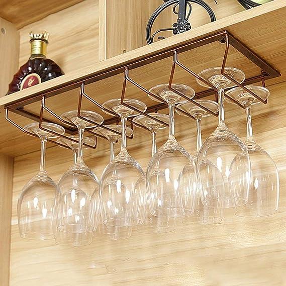 Estante de copa de copa de vino de hierro Estante de soporte de copa Estante para cocina Bar Restaurante,40 20cm AK Bronce n/órdico debajo del armario Estante de vino de metal montado en el estante