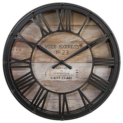 Orologio da parete stile vintage , Colore marrone ramato effetto  invecchiato , Diametro 39cm . Amazon.it Casa e cucina