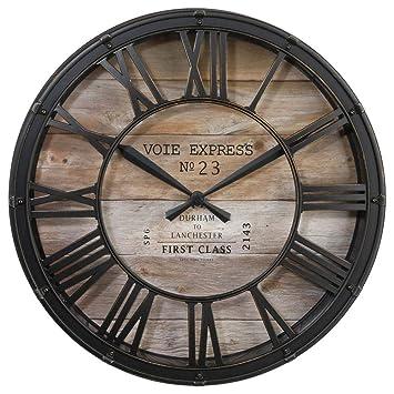 6b64bfe9b63 Horloge pendule murale style vintage - diamètre 39 cm - Coloris marron  cuivré effet vieilli