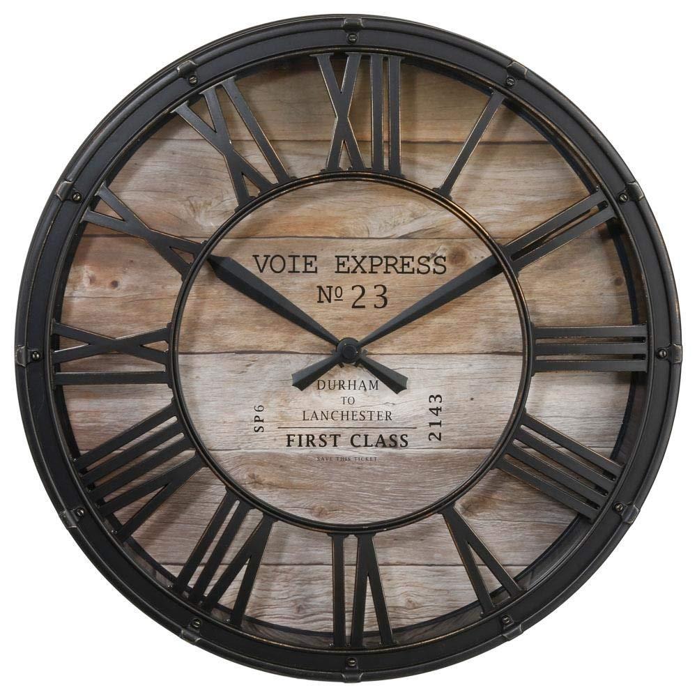 7ad56e79237 Horloge pendule murale style vintage - diamètre 39 cm - Coloris marron  cuivré effet vieilli