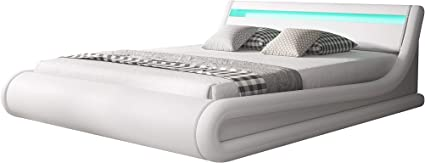 muebles bonitos Cama canapé abatible de Matrimonio Moderna Parisina con somier de láminas para colchón de 150x190cm Blanco diseño Italiano con LED ...