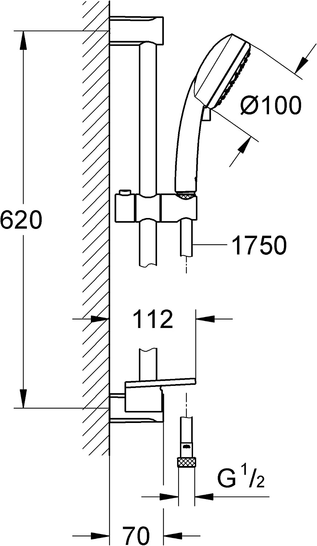 GROHE 2757120E Tempesta Cosmopolitan 100 Douchette 2 Jets Chrome