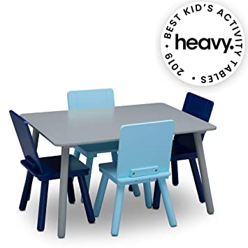 Sensational Delta Children Kids Chair Set And Table 4 Chairs Included Grey Blue Download Free Architecture Designs Scobabritishbridgeorg