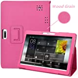 DETUOSI 10.1 inch Android Tablet Case, PU Leather Folio Cover fit for YELLYOUTH 10.1,Plum 10 Phablet,Lectrus 10,Victbing 10,Hoozo 10,Wecool 10.1,Yuntab 10.1 (K107/K17), KUBI 10.1,Winsing 10 (Hot Pink)