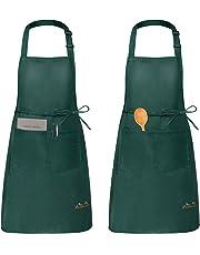 Viedouce 2 Pezzi Grembiule da Cucina Chef,Grembiule da Ristorante BBQ Bar Chef Cucina,Regolabile Grembiuli con Tasche Chef di Cucina,Impermeabile,Gembiule Cucina Uomo Donna