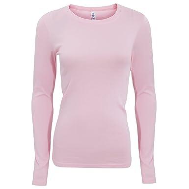 cbfa3f22527 Bella Canvas Womens/Ladies Sheer Rib Long Sleeve Crew Neck T-Shirt: Amazon. co.uk: Clothing