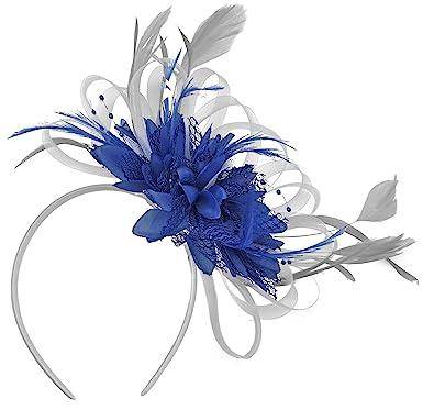 66fe7f9aae Silver and Royal Blue Net Hoop Feather Hair Fascinator Headband Wedding  Royal Ascot Races  Amazon.co.uk  Clothing