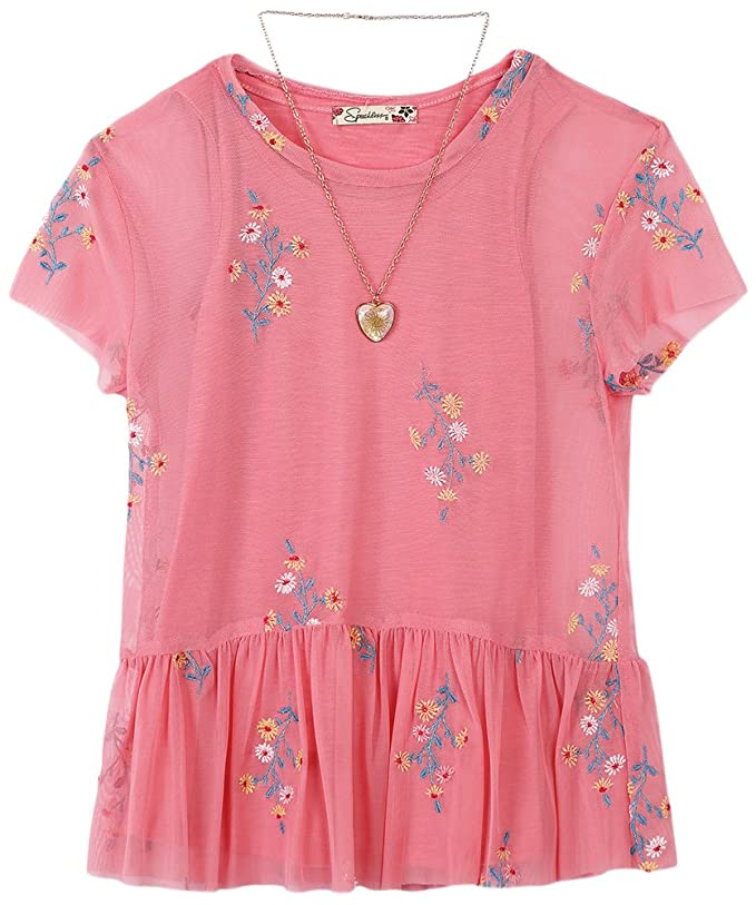 Speechless Girls Embroidered Chiffon Top With Layering Tank Blouse: Amazon.co.uk: Clothing