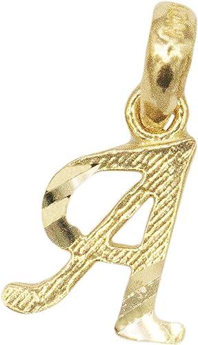 Real 14K Yellow White Gold M Initial Alphabet Diamond Cut Small Charm Pendant