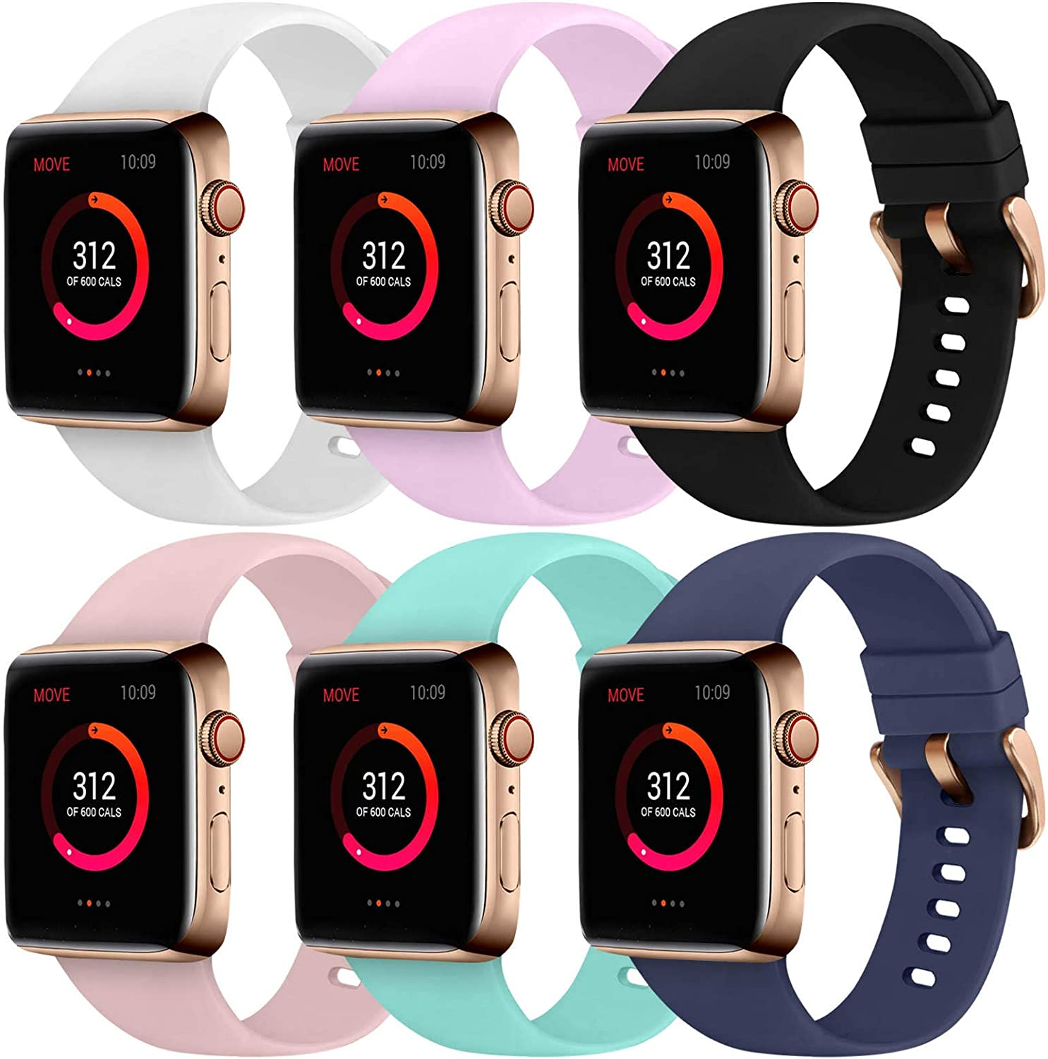 Abincee 6PCS Bands Compatible with Apple Watch 38mm 40mm 42mm 44mm with Rose Gold Buckle,replacement band for iWatch Series 6/5/4/3/2/1 (Black/White/Midnight Blue/Lavender/Teal/Sand Pink, 38mm/40mm)