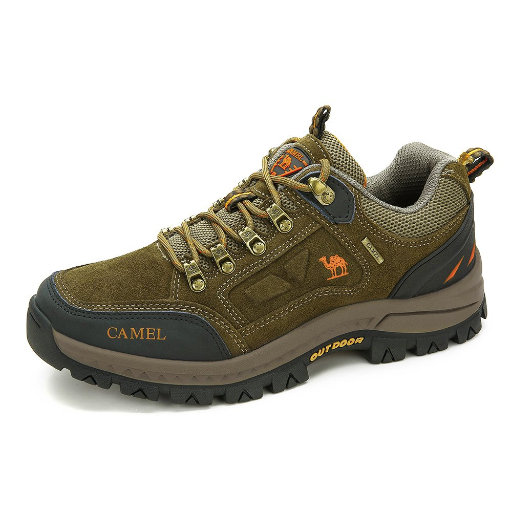 CAMEL SHOES Men's Outdoor Leather Hiking Shoes Breathable Lightweight Sneaker for Walking Trekking khaki 260 CN 8 US-260 mm (Fit 8.5 US) by CAMEL CROWN