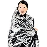 "EPOCHMA Emergency Blanket Mylar Thermal Survival Heat-Reflective Blanket Silver 63"" x 82"" (6 Pack)"