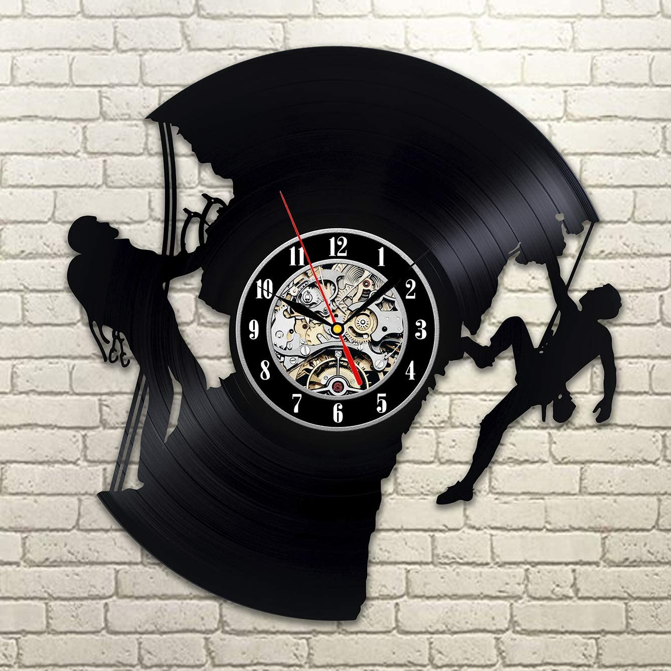 Kovides Climbing Art Gift Idea for Traveler Decorations for Nursery Hobby Sport Wall Art Retro Vinyl Record Clock Vintage Wall Clock Climbing for Your Life Rock
