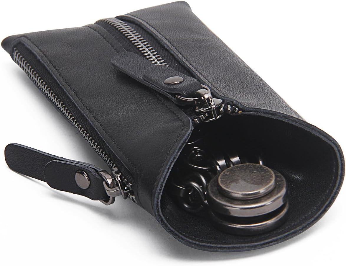 Monedero con cremalleras Contacts de piel auténtica, con llavero, negro (Negro) - 10454425