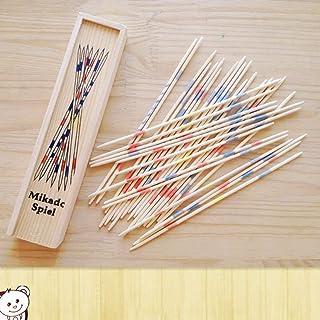JohnJohnsen Strumento educativo Tradizionale in Legno Mikado Spiel Pick Up Sticks con Scatola di Giochi Sviluppo abilità Matematiche